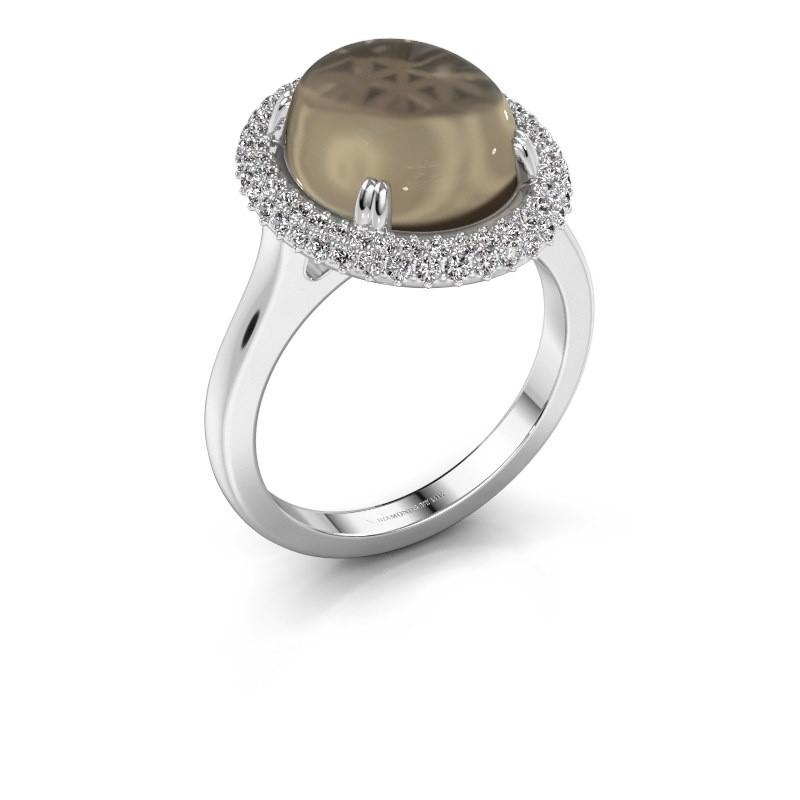 Ring Jayna 375 white gold smokey quartz 12x10 mm