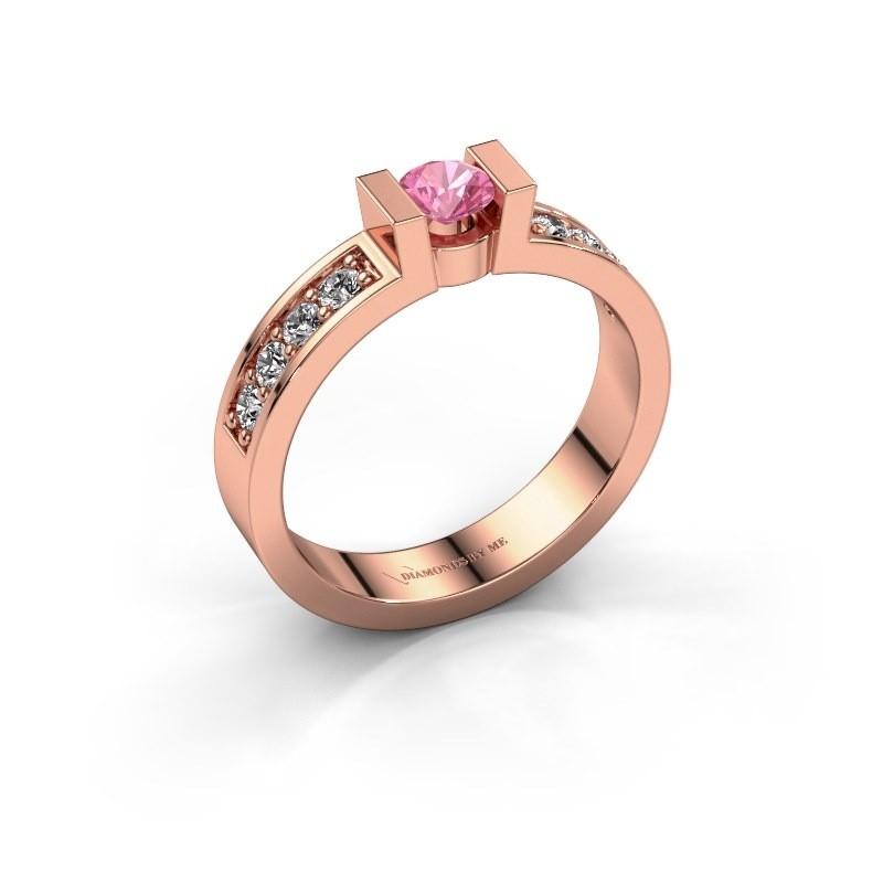 Verlovingsring Lieve 2 375 rosé goud roze saffier 4 mm