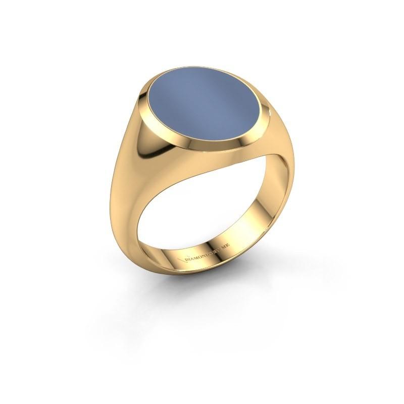 Zegelring Herman 4 585 goud licht blauwe lagensteen 15x12 mm