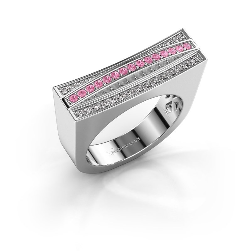 Ring Erma 585 white gold pink sapphire 1.2 mm