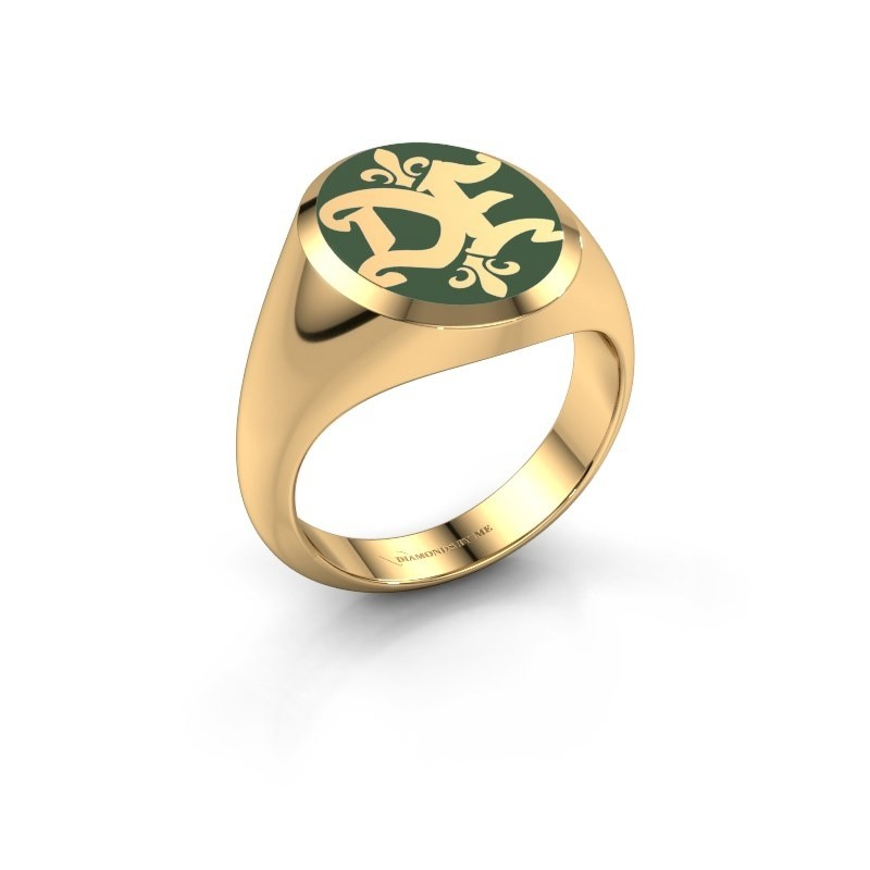 Monogram ring Xandro Emaille 375 goud groene emaille
