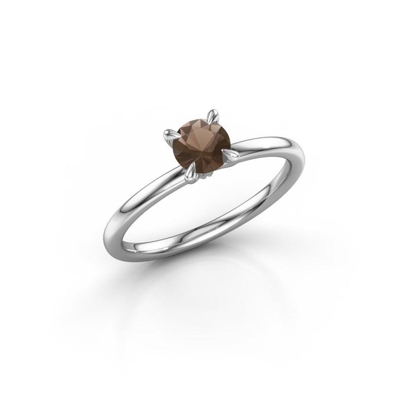 Verlovingsring Crystal RND 1 950 platina rookkwarts 5 mm