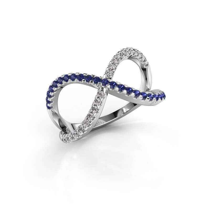 Ring Alycia 2 585 white gold sapphire 1.3 mm