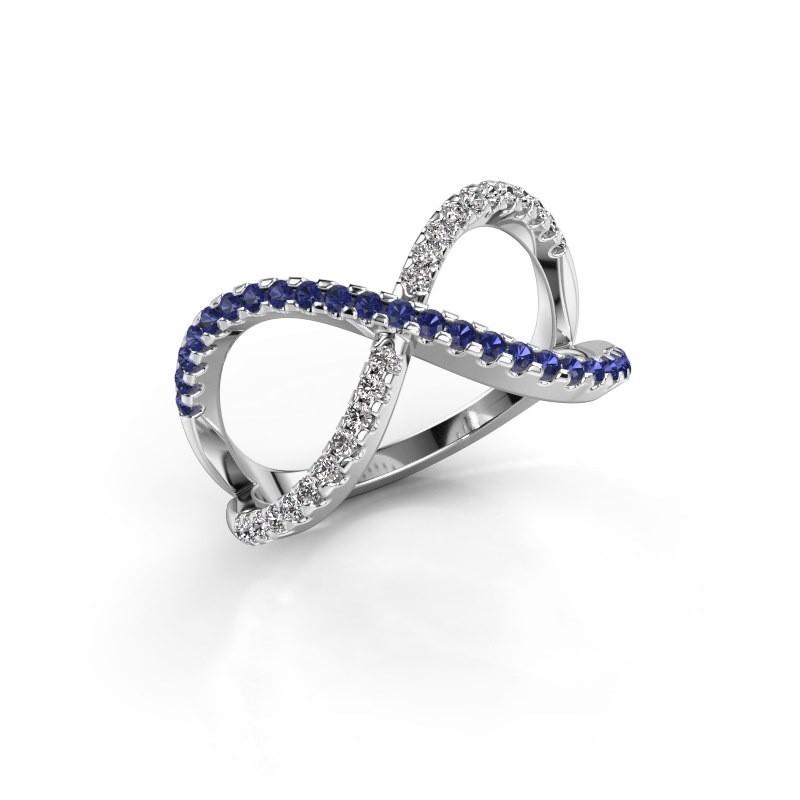 Ring Alycia 2 585 witgoud saffier 1.3 mm