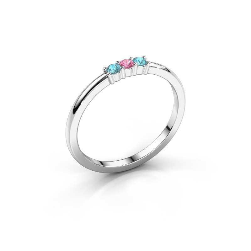 Verlobungsring Yasmin 3 925 Silber Pink Saphir 2 mm