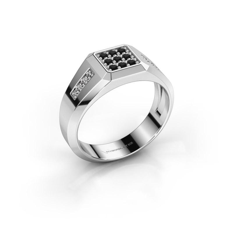 Pinky ring Bas 925 silver black diamond 0.336 crt