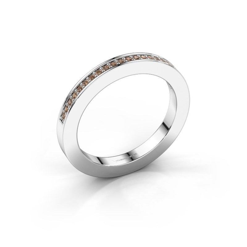 Stackable ring Loes 2 950 platinum brown diamond 0.147 crt