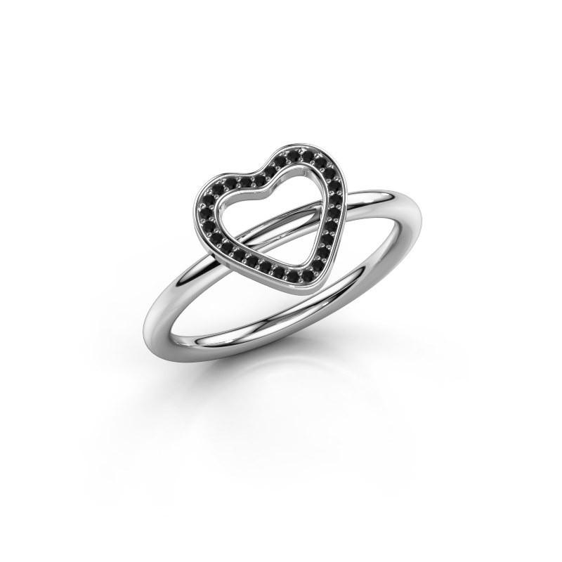 Bague Initial heart 375 or blanc diamant noir 0.045 crt