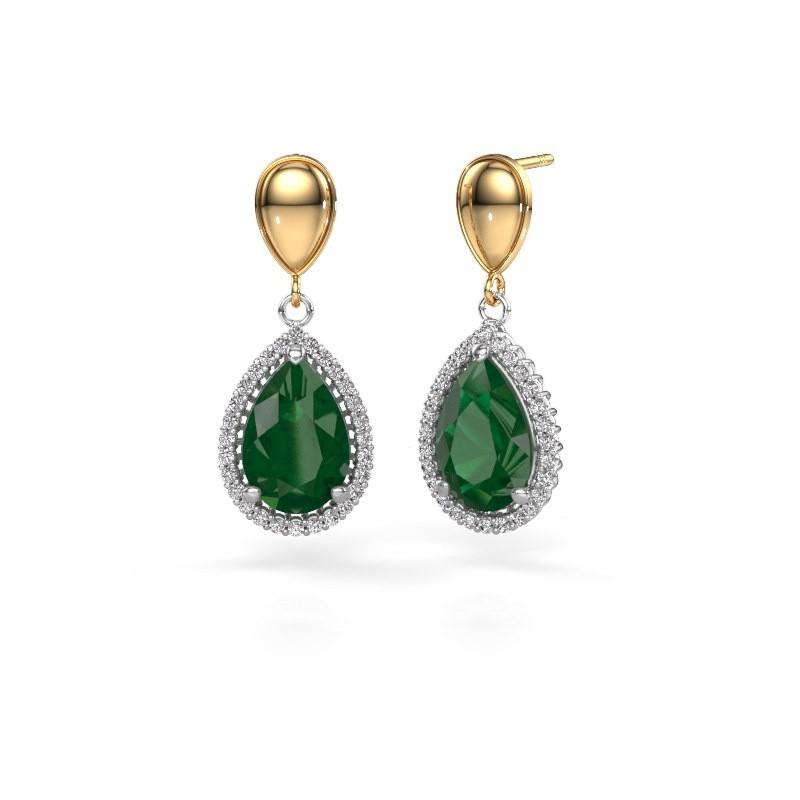 Drop earrings Tilly per 1 585 white gold emerald 12x8 mm
