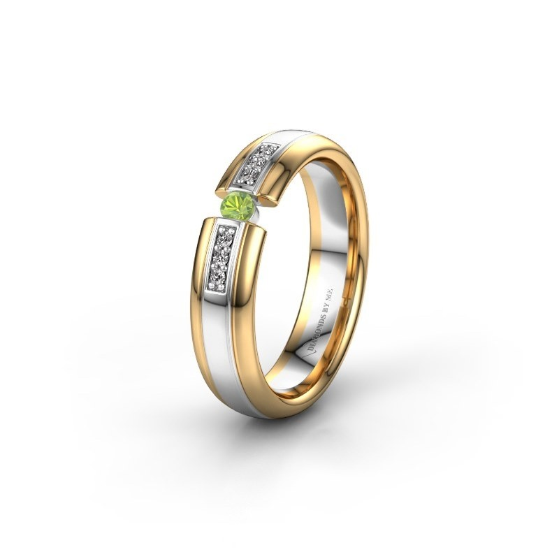 Wedding ring WH2128L26C 585 white gold peridot ±5x2 mm
