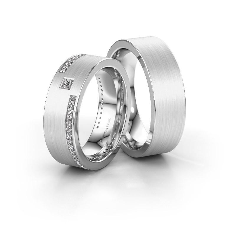 Eheringe set WH2048LM17DM ±7x2.4 mm 14 Karat Weißgold Diamant 0.05 crt