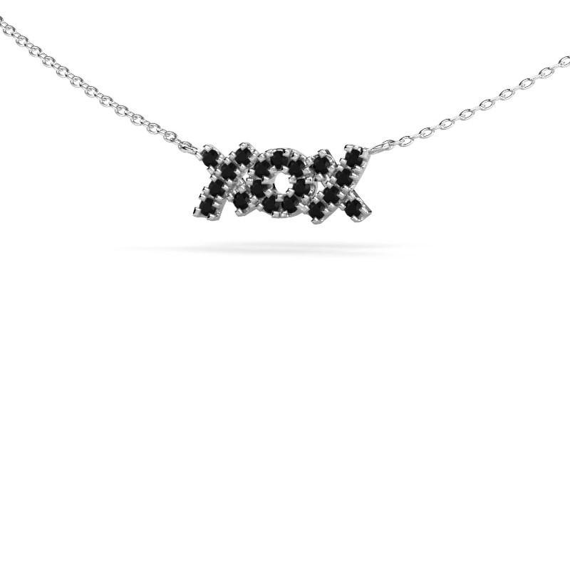 Ketting XoX 585 witgoud zwarte diamant 0.342 crt