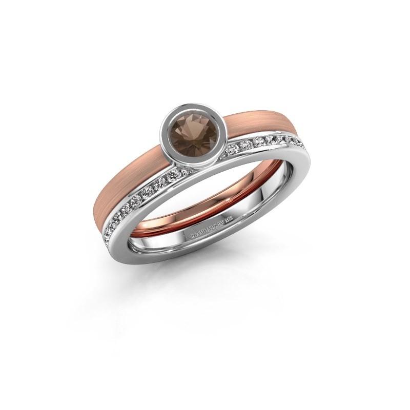 Ring Cara 585 rose gold smokey quartz 4 mm