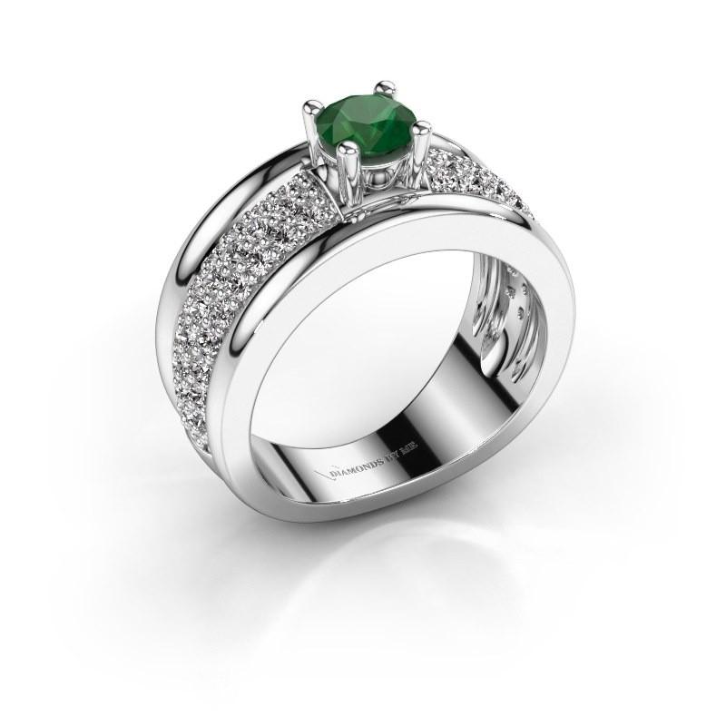 Ring Alicia 925 zilver smaragd 5 mm