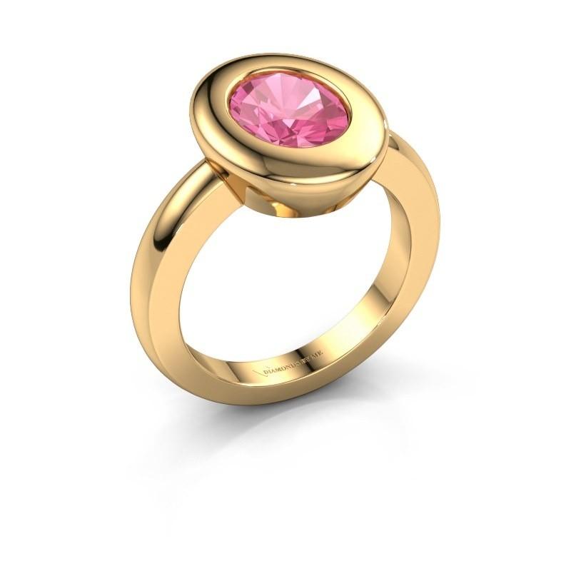 Ring Selene 1 585 goud roze saffier 9x7 mm