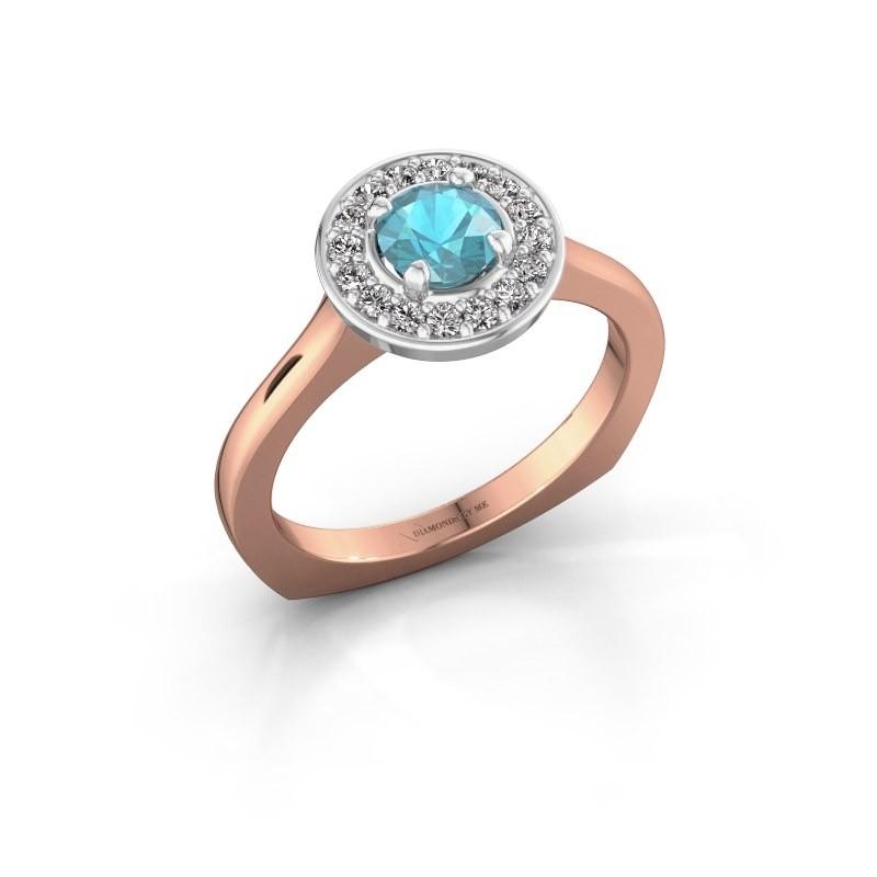 Ring Kanisha 1 585 rosé goud blauw topaas 5 mm