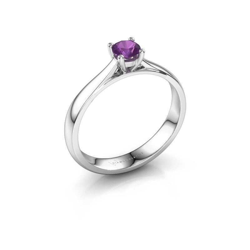 Engagement ring Sam 925 silver amethyst 4.2 mm