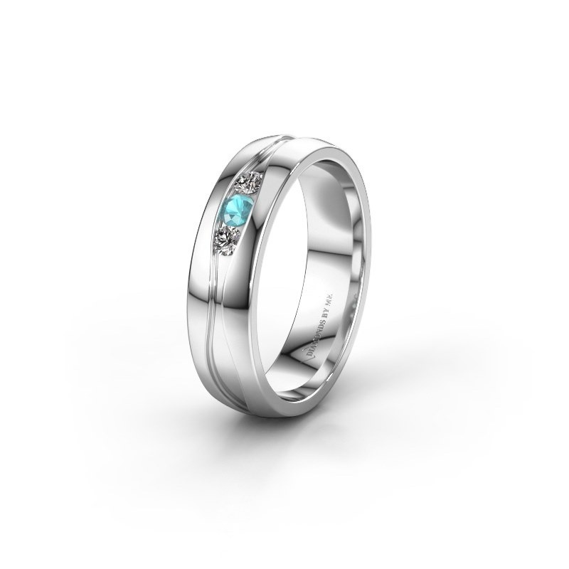 Wedding ring WH0172L25A 585 white gold blue topaz ±5x1.7 mm