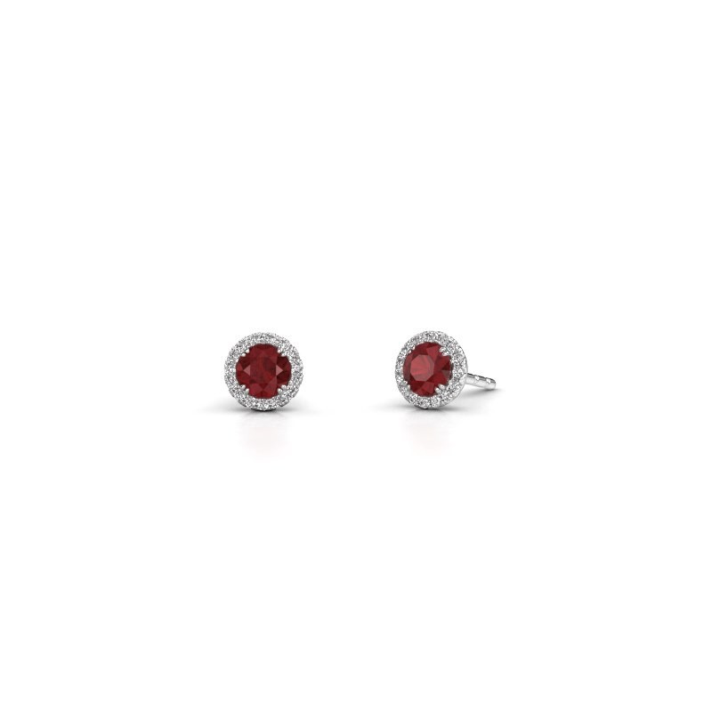 Earrings Seline rnd 925 silver ruby 4 mm