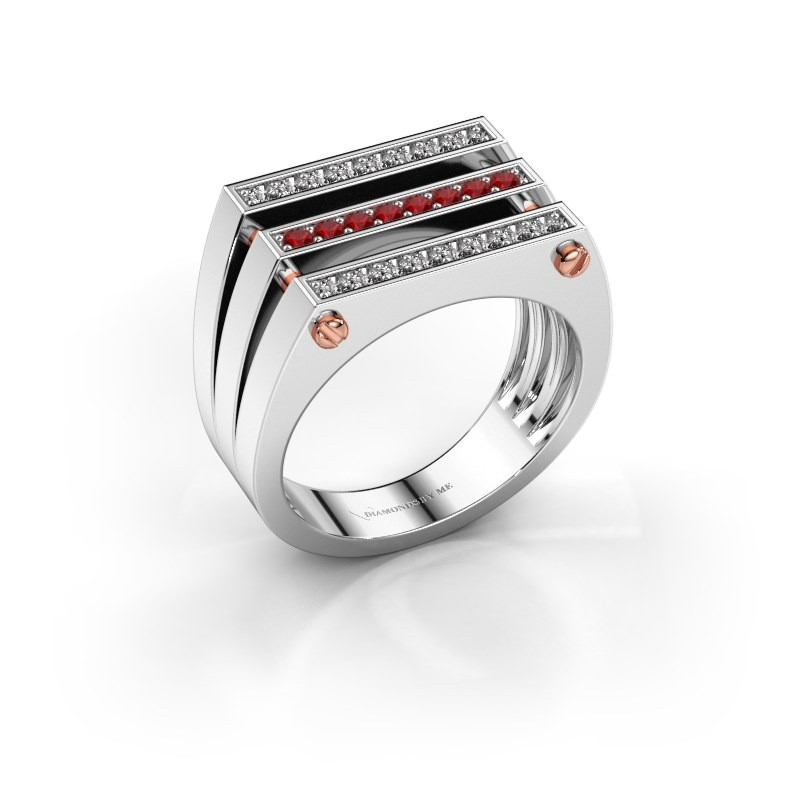 Heren ring Jauke 585 witgoud robijn 1.7 mm