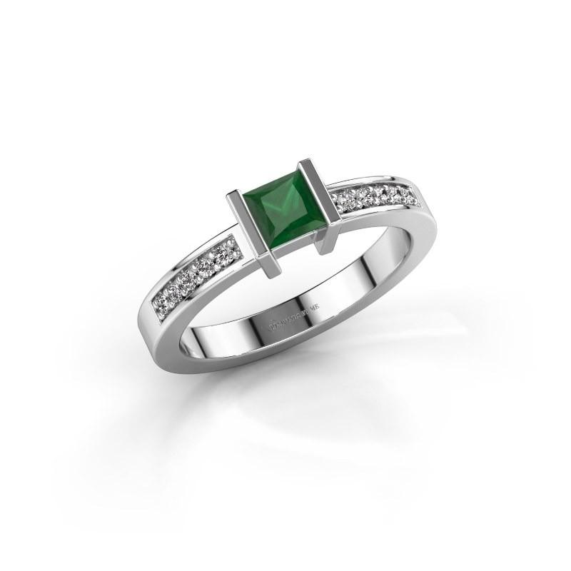 Engagement ring Jordan 950 platinum emerald 4 mm