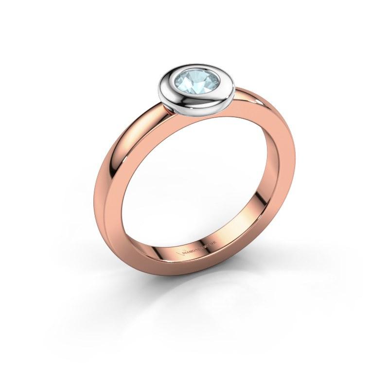 Ring Iris 585 rose gold aquamarine 4 mm