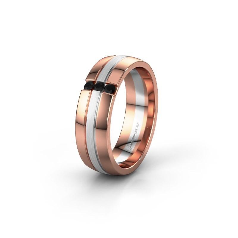 Wedding ring WH0426L26A 585 rose gold black diamond ±6x1.7 mm