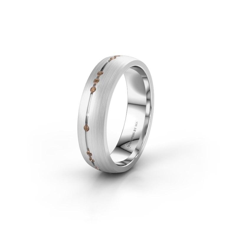 Trouwring WH0166L25A 925 zilver bruine diamant ±5x1.7 mm