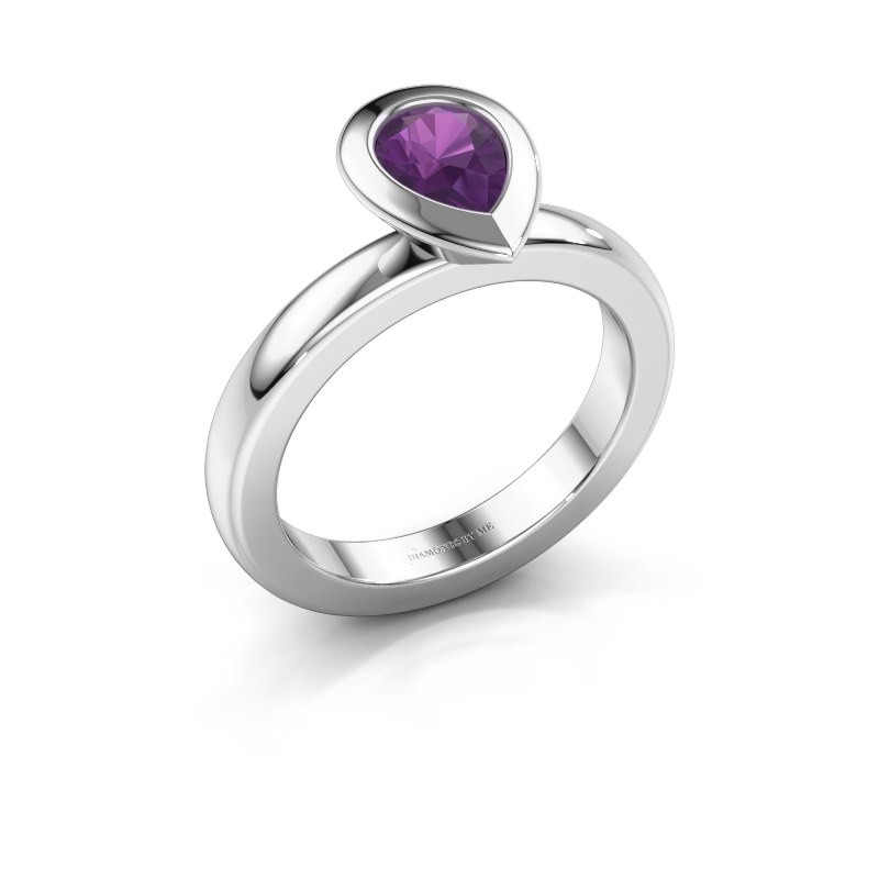 Stapelring Trudy Pear 950 platina amethist 7x5 mm