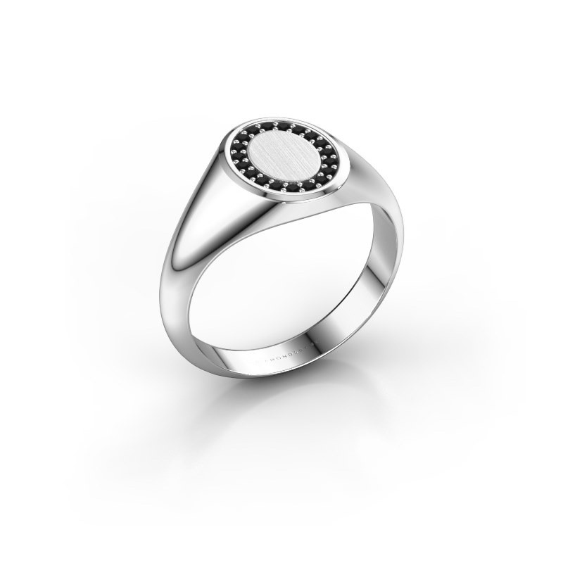 Pinky ring Floris Oval 1 925 silver black diamond 0.17 crt