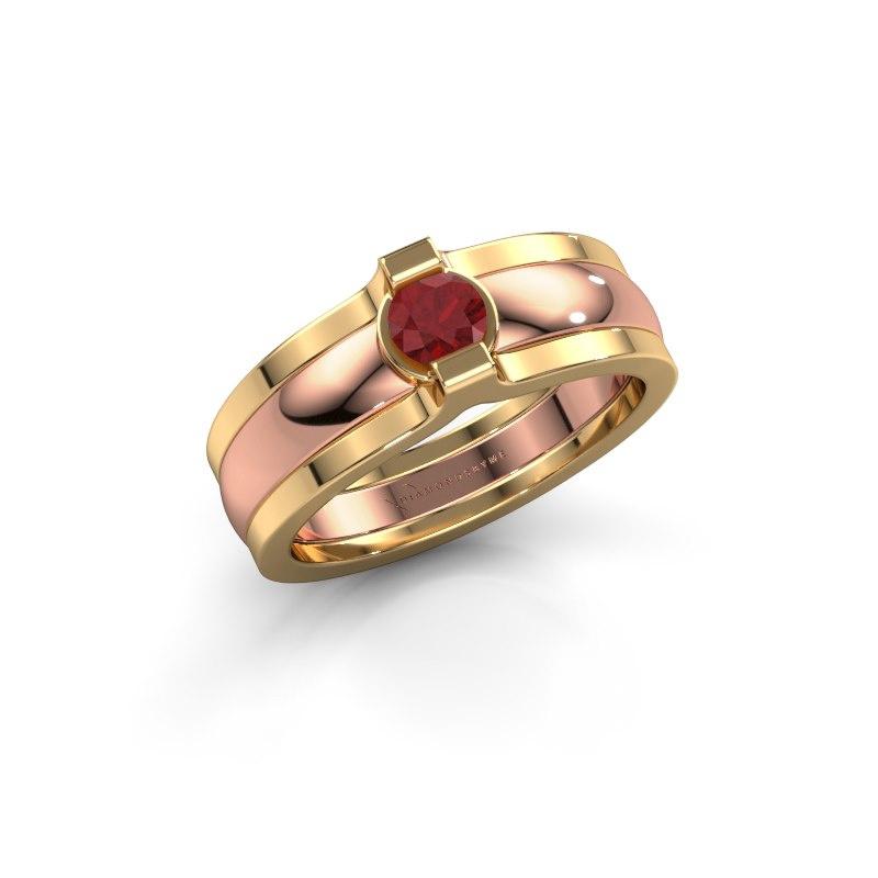 Ring Jade 585 rose gold ruby 4 mm