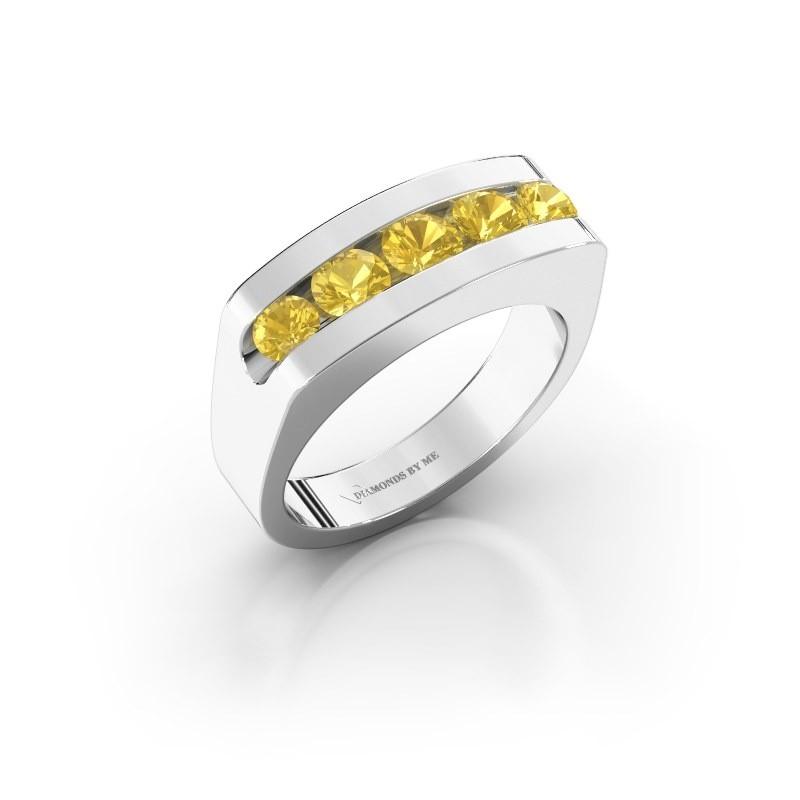 Men's ring Richard 375 white gold yellow sapphire 4 mm