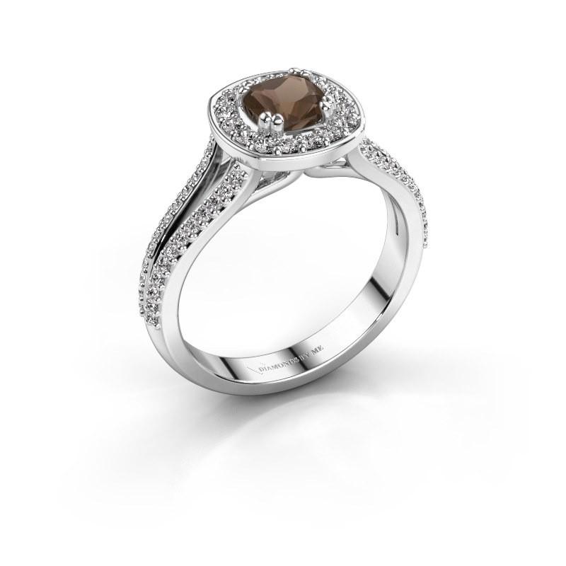 Engagement ring Carolina 2 585 white gold smokey quartz 5 mm