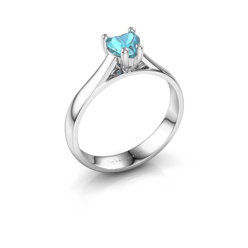 Engagement ring Sam Heart 950 platinum blue topaz 5 mm