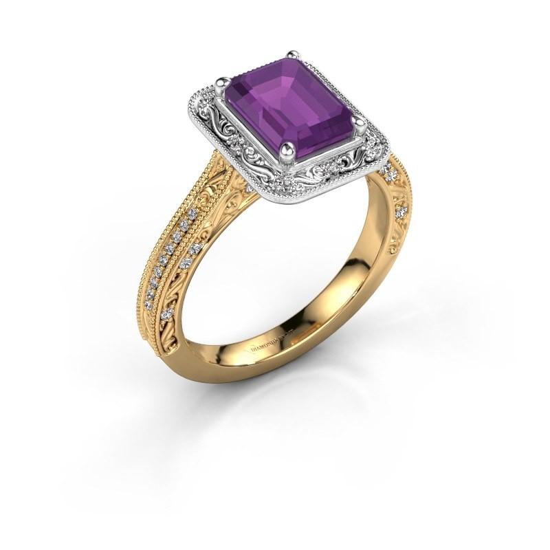 Verlovings ring Alice EME 585 goud amethist 7x5 mm