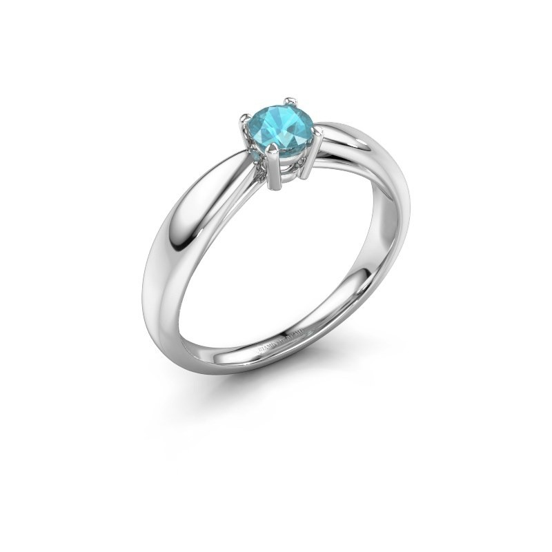 Verlovingsring Nichole 950 platina blauw topaas 4.2 mm
