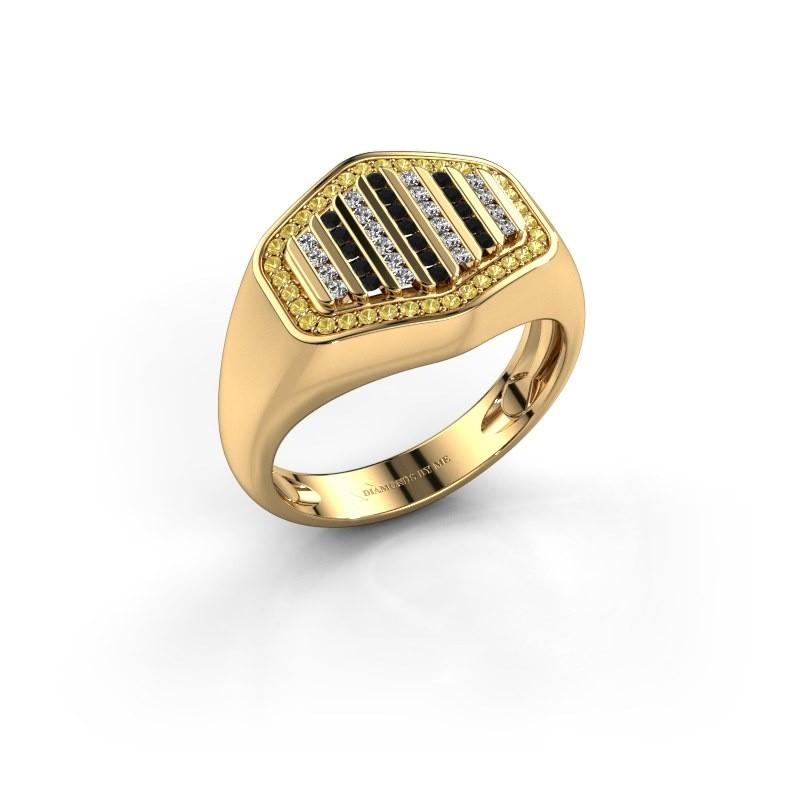 Heren ring Beau 375 goud gele saffier 1 mm