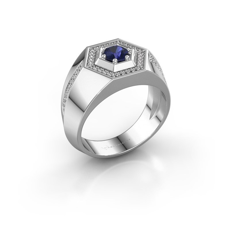 Men's ring Sjoerd 375 white gold sapphire 4.7 mm