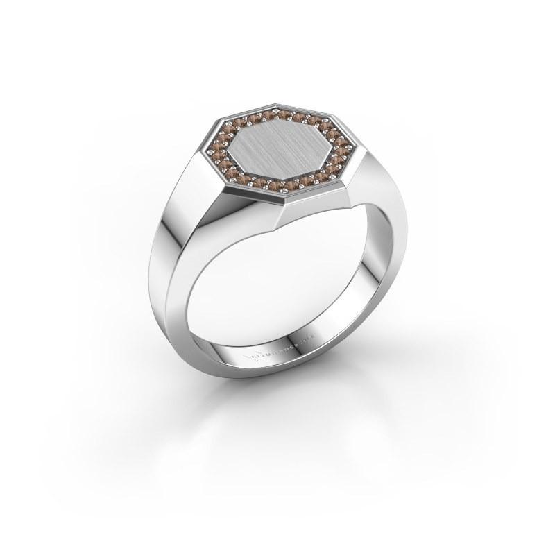 Heren ring Floris Octa 2 950 platina bruine diamant 0.18 crt
