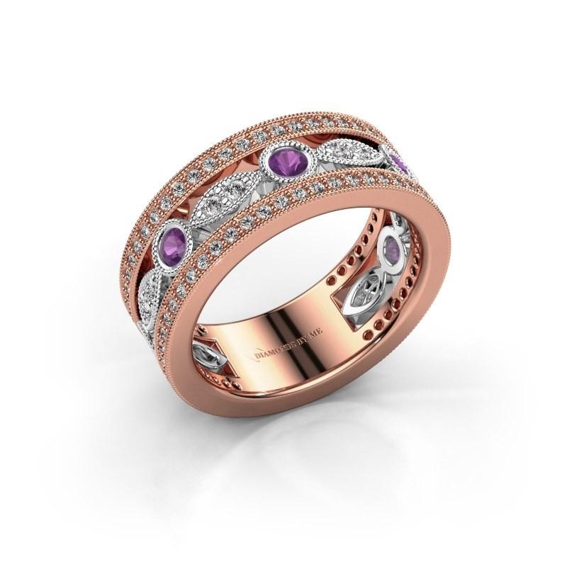 Ring Jessica 585 rosé goud amethist 2.5 mm