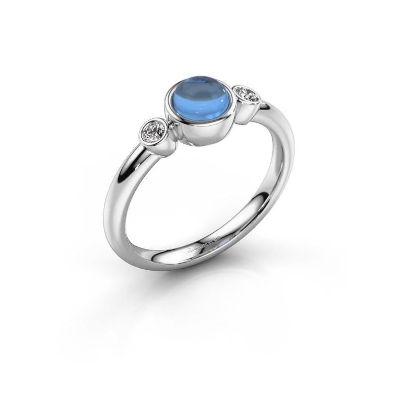 Ring Muriel 925 silver blue topaz 5 mm