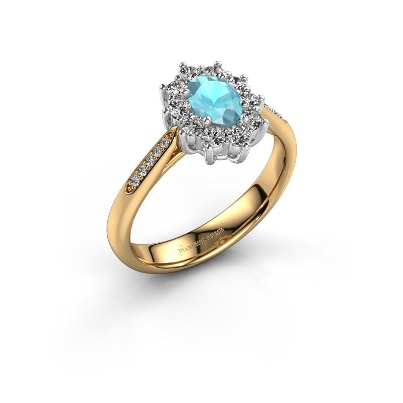 Verlovingsring Leesa 2 585 goud blauw topaas 6x4 mm