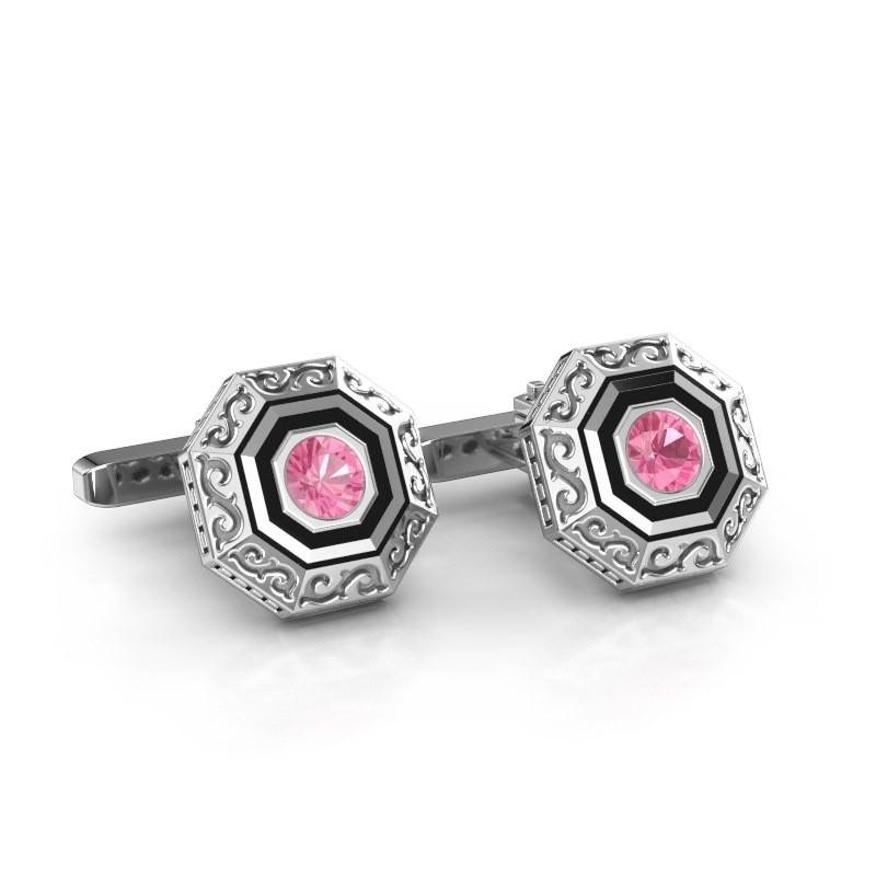 Cufflinks Dion 925 silver pink sapphire 5 mm