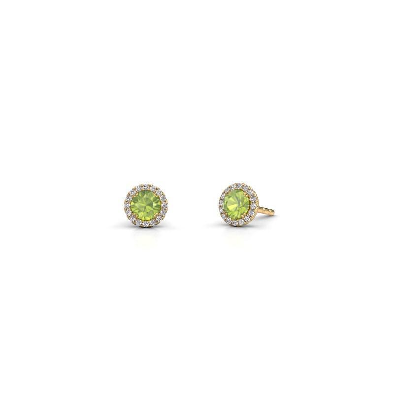 Earrings Seline rnd 375 gold peridot 4 mm