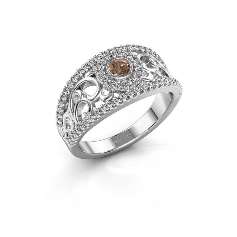 Verlovingsring Lavona 585 witgoud bruine diamant 0.50 crt
