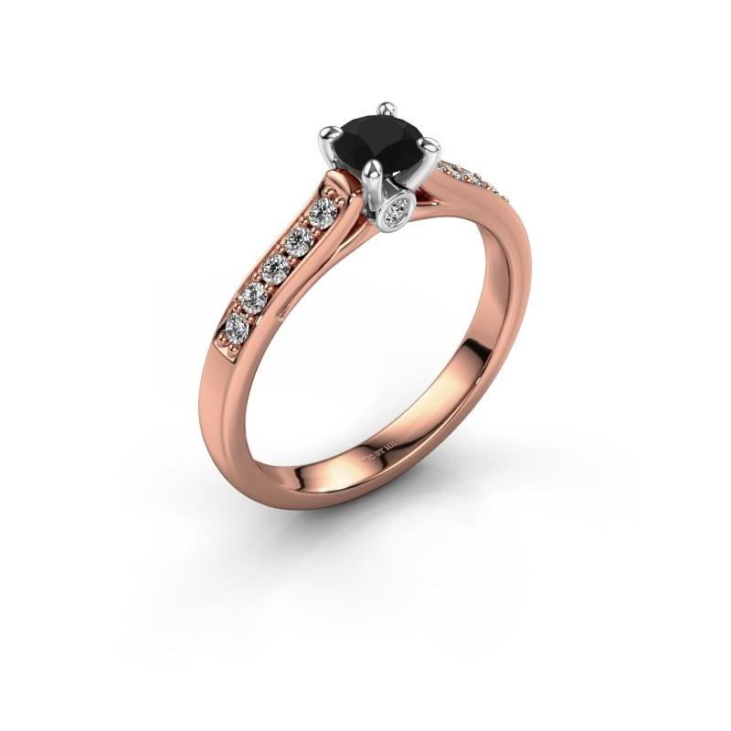 Verlovingsring Valorie 2 585 rosé goud zwarte diamant 0.48 crt