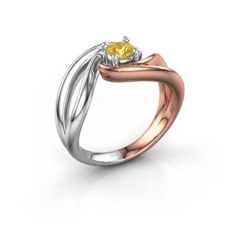 Ring Kyra 585 rose gold yellow sapphire 4 mm