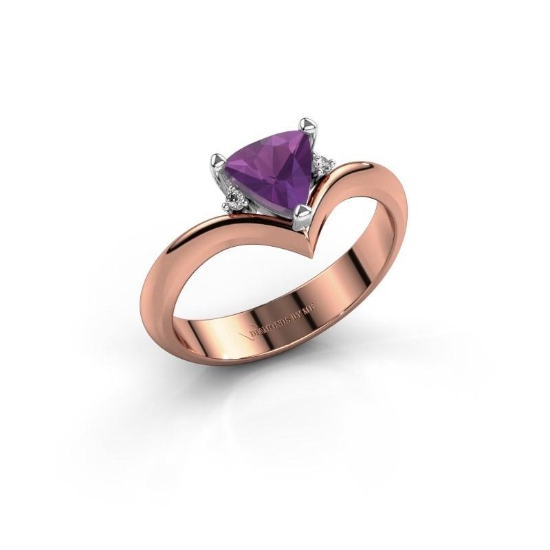 Ring Arlette 585 rosé goud amethist 7 mm
