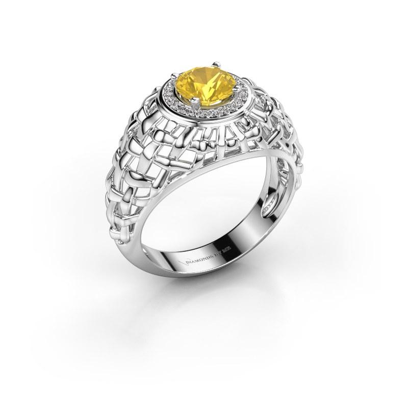 Pinky Ring Jens 585 Weißgold Gelb Saphir 6.5 mm