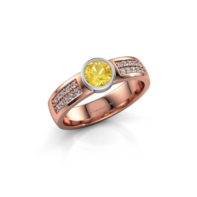 Engagement ring Ise 3 585 rose gold yellow sapphire 4.7 mm
